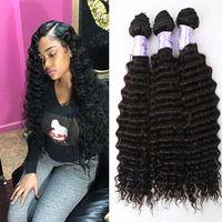 Wholesale Malaysian Off Black - 30% off 100% Human Hair Bundles Deep Wave Virgin Brazilian Hair Brazilian Virgin Hair Weave Deep Curly Weaving