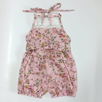 Wholesale Infant Spaghetti Strap - baby romper New Floral Bowknot Lace Girls Bodysuit Summer Flower Printed Spaghetti Strap Infant Jumpsuit Newborn Onesie C1477
