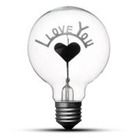 ingrosso lampadina a forma di cuore-Lampadina Edison Vintage Lampadina E27 G80 Retro Lampadine ad incandescenza Ti amo a forma di cuore Arte Decor Lamp Lighting AC220V