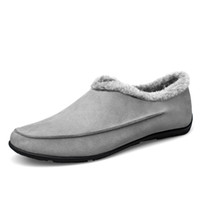 Wholesale Thick Bottom Flip Flops - Wholesale-New Men Leather Soft Rubber Bottom Slippers House Warm Winter Man Shoes Slipper Plus Thick Velvet Cotton-Padded Shoes Zapatillas