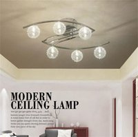 Wholesale Glass Aluminum Wire Ball - Modern Aluminum wire LED Ceiling chandeliers light lustre clear ball glass abajur lampshade bedroom leds ceiling lighting chrome