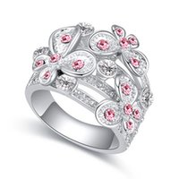 anéis de banda de cristal austríaco venda por atacado-Presentes High End Luxo Jóias Finas Acessórios de Cristal Austríaco Flores Borboleta Do Partido Coquetel Dedos Charme Alianças de Casamento Anéis Para As Mulheres