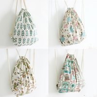 Wholesale Spot Bag Backpack - Spot wholesale 20 colleges draw string backpack cotton and linen cloth, female bag exempt postage