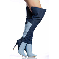 Wholesale Denim Over - Free Delivery New Blue Denim Boots Women Pointy Toe High Heels Over The Knee Boots Patchwork Thigh High Boots