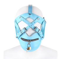 Wholesale Leather Sex Harness Restraint - 2017 BDSM Sex Toys Blue Leather Head Harness With Muzzle Leather Muzzle Bondage Restraint Gear Adult Sex Product
