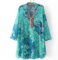 Wholesale Bohemia Shirt - Wholesale- Summer Style Chiffon T Shirt Women Casual Loose Style Flare Sleeve T-shirt Plus Size Bohemia EthnicTshirt Women Camisetas Mujer