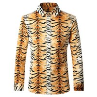 Wholesale mens autumn dress for sale - Men Shirt Long Sleeve Casual Slim Fit Mens Leopard Print Shirt Fashion Autumn Dress Shirt XL XL Chemise Homme Marque Luxe T168