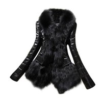 Wholesale Thick Leather Jackets - Wholesale- New Designer Women Warm Fur Collar Coat Leather Thick Jacket Overcoat Parka Large Plus Size 3XL Outwear Women basic coats