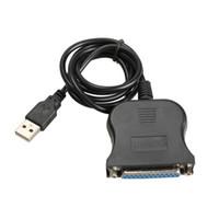 Wholesale Ide Usb Converter - Wholesale- New USB 1.1 to DB25 Female Port Print Converter Cable LPT Black