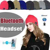 Wholesale Outdoor Headset - Bluetooth Hat Music Beanie Cap Stereo Wireless Earphone Soft Outdoor Headset Headphone Speaker Microphone Handsfree Music For Smart Phone