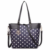 Miss Lulu neue Mode Frauen Designer Polka Dots M Metall Brief PU-Leder Handtasche Zip Schultertasche Cross Body Satchel 1653