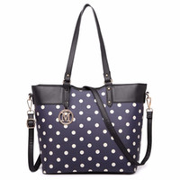 Miss Lulu New Fashion Women Designer Polka Dots M Metal Letter PU Bolsa de couro Zip Shoulder Tote Bag Cross Body Satchel 1653