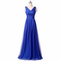 ingrosso vestito blu dalla signora indietro-Royal Blue Chiffon 2017 Abiti da sera con scollo a V Sequined Inside Long Ladies Dress Open Back Prezzo competitivo