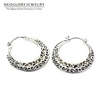 Wholesale Neoglory Vintage - Neoglory Classic Vintage Hoop Earrings Allergy-free Antique Silver Plated for Women Fashion Jewelry 2016 New Gifts FA