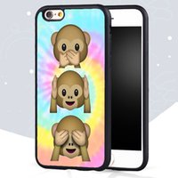 Wholesale Monkey Phone Covers - Emoji monkey Tie Dye cute Emojis Soft Rubber Skin Phone Cases For iPhone 6 6S Plus 7 7 Plus 5 5S 5C SE 4S Back Cover