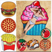 Wholesale Strawberry Scarves - Round Beach Towel Mandala Tapestry Pizza Hamburger Skull Ice Cream Strawberry Smiley Emoji Pineapple Watermelon Shawl Wrap Scarves B2001