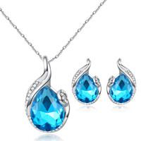 Wholesale Imitation Platinum Silver Wedding Rings - snap jewelry European Women 925 Silver White Blue Zircon Water Drop Fashion Ring Earrings Pendant Necklace Wedding Gift Jewelry Set