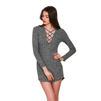 Wholesale Long Charcoal Dress - Simplee Charcoal Women Winter Knitted Dresses Long Sleeve V Neck Lace Up Sweater Dress Casual Bodycon Dress Vestidos