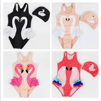 Wholesale Girls Cartoon Swimwear - 2017 Summer New Girl Swimwear WIth Hat Swan Parrot Flamingo Cartoon One Piece Children Swimming Suit 0-9T 10011