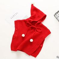 Wholesale Sweater Hoodie Children - Girls shawl fashion kids knitting Magic Hoodies sweater sweet girls pompon bows tie poncho Autumn new kids cape children shawl G0888