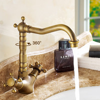 Wholesale Vintage Kitchen Sink Faucets - Brass Bathroom Sink Faucets Vintage Style 360 Rotatable Water Saving Hot & Cold Hose Tap Faucet Kitchen Rest Room Faucet