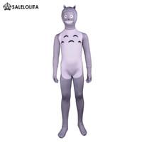 nachbar totoro kostüm großhandel-Kinder mein Nachbar Totoro Cosplay Kostüm Kinder grau Lycra Spandex voller Body Kind Halloween Zentai Catsuit Kostüm