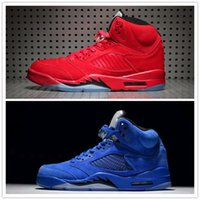 Wholesale Cheap Tongue - 2017 cheap air retro 5 V Olympic OG metallic Gold Tongue Man Basketball Shoes Black Metallic red blue Suede Fire Red Sport Sneakers
