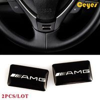 Wholesale Mercedes Benz Mirrors - Fashion Car Plastic Drop Sticker for Mercedes Benz AMG Personality Labels Logo Brand Auto Decorations Accessories Car Styling 2pcs Lot