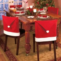 Wholesale Tables Chairs For Wholesale - christmas Chair Covers Santa Clause Red Hat for Dinner Decor Home Decorations Ornaments Supplies Dinner Table Party Decor CCA7438 100pcs