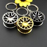 Wholesale Metal Decor Autos - New Design Car Wheel Rim Model Key Ring Keyring Auto Accessories Metal Birthday Gift Keychain Decors Wheel Hub Key Chain