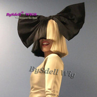 Wholesale Sales Act - Hot Sale Sia Black Gold Blonde Color Wig Short Bobo Hair Wig This is Acting Role Sia Cosplay Anime Wig with the Black Bowknot