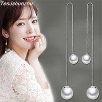 Wholesale Fshion Jewelry - Fshion Drop Earrings Simulated Pearl Jewelry silver Color Ear Wire Chain Long Earrings for Women eh323