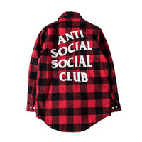 Wholesale Good Casual Dressed Men - Wholesale- Hip Hop Anti Social Social Club Shirts Men Women Autumn Good Quality Full Length Flannel Justin Bieber Assc Shirts Dress Hombre