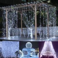 lumières de rideau blanches fraîches menées achat en gros de-Le glaçon de rideau en fenêtre de 3 * 3M LED allume 306 LED 9.8ft 8 modes ficelle guirlande lumineuse pour Noël / Halloween / mariage