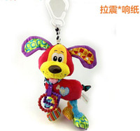Wholesale Dogs Pull Toy - Wholesale- Candice guo! Newest Arrival Cute Animal My First Activity Friend Dog Red Baby Rattle Toy pull & shake bed hang gift 1pc