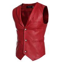 Wholesale Sleeveless Leather Jacket Mens - Wholesale- New Designs Faux Leather Jacket Vests Men Red White Black Single Breasted V Neck Mens Waistcoat Slim Fit Sleeveless Coat Male