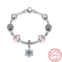 Novo 100% Real Puro 925 Sterling Silver Jewelry Floco De Neve Charms Glass Murano Beads Crystal Bracelets Mulheres Engagement Jóias DIY Jóias