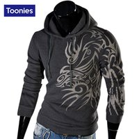 Wholesale Top Mens Suits Brands - Wholesale- Mens Hoodies Outwear Casual Sweatshirt Suit Sudaderas Male Brand Dragon Printed Hooded Sweatshirts Fit Man Top Hoody Size M-XXL