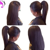 Wholesale Red Synthetic Ponytail - Fashion black women yaki straight Synthetic Lace Front Wig Heat Resistant black  brown 99J wigs can do ponytail natural hairline