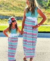 Wholesale Girl Knit Dress Stripe - Mother and daughter dress Knit Women dresses Print Girls dresses Beach European 2017 summer Kids clothing Stripe sleeveless long dresses