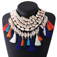 Wholesale Multilayer Resin - 2017 ethnic tassel choker necklace large Multilayer Shells Bohemia colorful cotton rope statement necklace for women jewelry free shipping