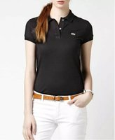 Wholesale New Clothes Womens - 2017 New Womens Brand Clothing Short Sleeve Shirt Lapel Business women Polo Shirt High Quality Crocodile Embroidery Cotton Woman Polo Shirt