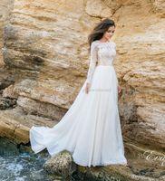 Wholesale Sleeved Backless Dress - long sleeved beach wedding dresses 2018 Eva Lendel bridal lace bodice chiffon skirt jewel neckline chapel train wedding gowns