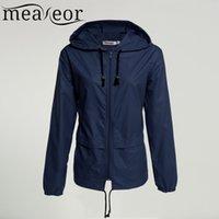 Wholesale Waterproof Coats Plus Size Women - Wholesale- Meaneor autumn coat Women Hooded Jacket 2016 winter thin long sleeve Waterproof casual outcoat Outwear Plus size S,M,L,XL,XXL