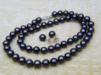 14k schwarze perlenohrringe großhandel-10-11 mm schwarz Südsee Perlenkette Armband + Geschenk Ohrring 18