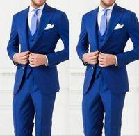 Wholesale Mens Designer Tuxedos - 2017 Newest Royal Blue Wedding Groom Wear Men Slim Fit Mens Wedding Tuxedos Designer Mens Suits (Vest+Pants+Vest)