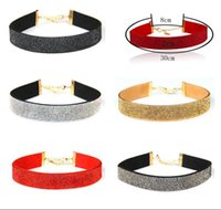 Wholesale Cheap Rhinestones Chokers - Choker Necklace Jewelry European Bead Flannelette Collar Neck Short Chain Clavicle Necklace Women Vintage Jewelry Cheap Necklaces