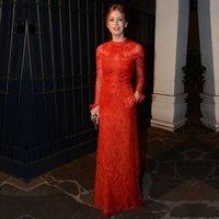 Wholesale Dresses Formales - 2017 evening Fashion Charming Lace Decal Celebrity Red Carpet Fishtail Dress Noche Rote Spitze Langarm Abendkleid Elegante Frauen Formales