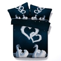 Wholesale Swan Duvet - White Swan Galaxy 3D Printed Bedding Sets Twin Full Queen King Size Bedclothes Duvet Covers Lover Adult Room Valentine Gift 600TC 3 4PCS