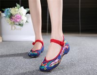 Wholesale Black Flat Mary Jane Shoes - Fashion Women Shoes Old Beijing Mary Jane Flats Casual Shoes Chinese Style Embroidered Cloth shoes woman